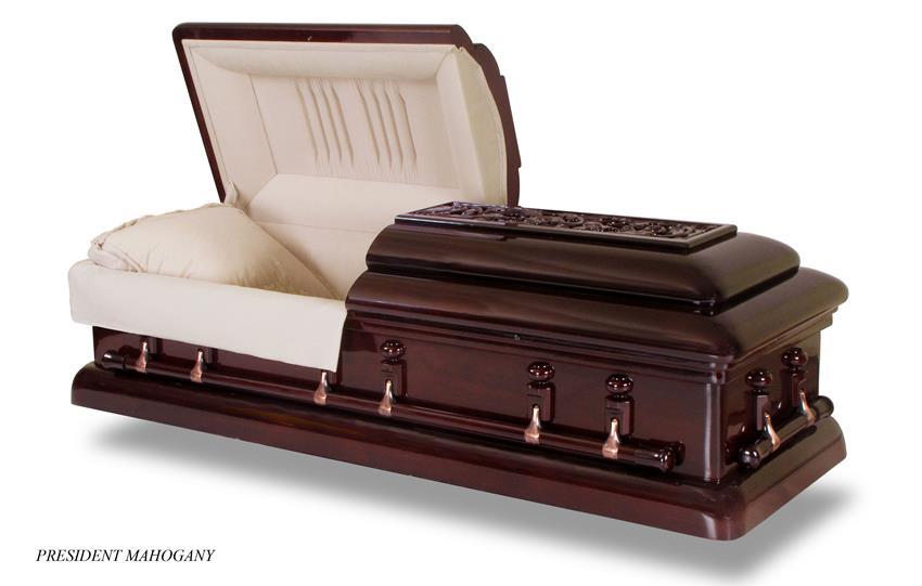 president mahogany new england casket company