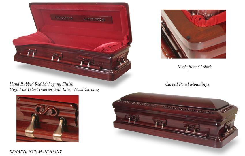 Renaissance mahogany new england casket company for Black casket with red interior